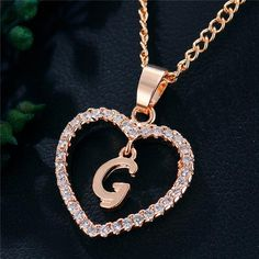 Best Seller Romantic Love Pendant Necklace For Girls 2019 Women Rhinestone Initial Letter Necklace Alphabet Gold Collars Trendy New Charms Letter Pendant Necklace, Letter Pendants, Love Necklace, Necklace Types, Initial Necklace, Fashion Necklace, Fashion Jewelry, Gold Collar, Girls Necklaces
