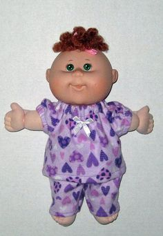 Cabbage Patch Newborn Doll Purple Hearts Pajamas by Dakocreations, $13.99