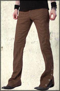 http://www.rock-rebel.com/p-3746-serious-engineer-steam-punk-pinstriped-spat-metal-button-vintage-fit-mens-denim-boot-cut-rocker-pants-in-brown-tea-stain.