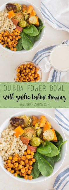 This healthy quinoa bowl is an easy recipe that is perfect for weeknight dinners or work lunches! Click through to grab the recipe, or pin for later // Roasted Chickpeas, Garlic Tahini Dressing, and My Favourite Quinoa Power Bowl --> www.savourandshin...