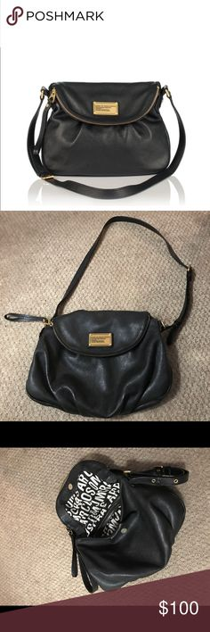 Authentic Marc by MarcJacobs Bag Authentic Marc by MarcJacobs - Black pebbled leather with gold tone hardware. This bag features an adjustable crossbody strap, zip closure, lined interior zip pocket, two interior slip pockets, and a magnetic snap flap closure. Dimensions: 12 1/2 x 2 3/4 x 10 1/2. Strap Drop: 20.5. No trades. Marc by Marc Jacobs Bags Crossbody Bags