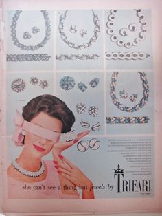 vintage TRIFARI rhinestone costume jewelry ad with great pieces
