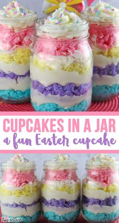 Springtime Cupcake in a Jar Springtime Cupcake in a Jar - featuring colorful cake layers and delicious Buttercream Frosting is a unique take on cupcakes and a great Easter dessert. The Easter Treat is Desserts Ostern, Köstliche Desserts, Delicious Desserts, Cupcake Recipes, Cupcake Cakes, Dessert Recipes, Recipes Dinner, Holiday Treats, Holiday Recipes