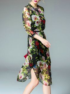 Floral-print Chiffon Midi Dress with Cami