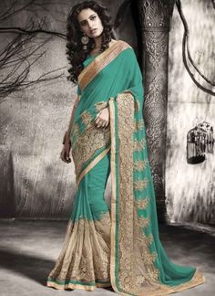 Vibrant Turquoise Beige Diamond Work Georgette Net   Designer Wedding Sarees http://www.angelnx.com/Sarees/Wedding-Sarees