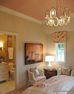 Love this! Sherwin Williams' Accessible Beige on the walls, Oyster White on the trim, and Gracious Rose on the ceiling. by herminia