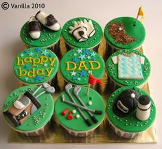 Trendy Cake Birthday Men Father Golf Cupcakes You are in the right place about t Fondant Cupcakes, Golf Cupcakes, Cupcakes For Men, Themed Cupcakes, Cupcake Cakes, Golf Cake Toppers, Fondant Toppers, Cupcake Toppers, Cupcake Ideas