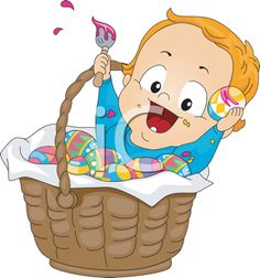 iCLIPART - Illustration of a Baby Sitting Inside an Easter Basket