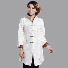 High Quality White Ladies Satin Embroidery Jacket Long Sleeves Coat Plus Size S M L XL XXL XXXL 4XL 5XL Mujeres Chaqueta Mne08A