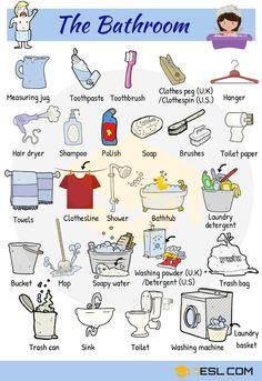 Bathroom Vocabulary in English | In the Bathroom - 7 E S L