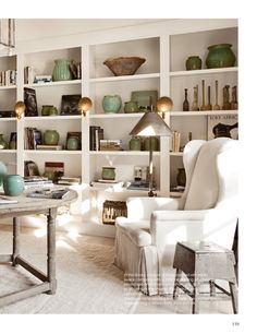 White shelves with pottery. Dallas based interior designer and style director for Milieu magaazine Shannon Bowers. Decor, Apartment Decor, Living Room, Home, Cheap Home Decor, Interior, Living Spaces, Home Decor, Room