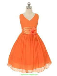 Orange Yoru Chiffon Flower Girl Dress