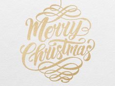 Hand lettering for Christmas cards. Screen Printed with metallic gold ink on white card stock.