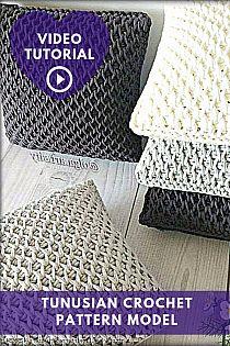 Crochet Pillow Patterns Free, Tunisian Crochet Patterns, Crochet Motif, Knitting Patterns, Diy Crafts Crochet, Crochet Cushions, Crochet Videos, Crocheting, Crafty