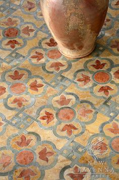 Jaen, a natural stone waterjet mosaic shown in Verde Luna, Rosa Verona and Giallo Reale polished, is part of the Miraflores Collection by Paul Schatz for New Ravenna Mosaics. Patio Flooring, Kitchen Flooring, Kitchen Tile, Stone Mosaic, Mosaic Tiles, Marble Mosaic, Mosaic Floors, Tiling, Mosaic Mirrors