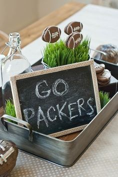 A Vintage Football Party - Packers Football Viewing Party - Anders Ruff Custom Designs, LLC Football Banquet, Packers Football, Football Decor, Football Parties, Tailgate Parties, Football Season, Fall Football, Greenbay Packers, Football Food