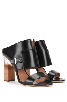Runway Edition BOSS Bespoke wood and transparent heel leather sandals