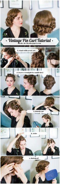 Mode de Lis: Vintage Pin-Curls for Short Hair · Tutorial - Hairstyle Women 1920s Long Hair, Vintage Hairstyles For Long Hair, Vintage Hairstyles Tutorial, Retro Hairstyles, Curled Hairstyles, Wedding Hairstyles, Updo Hairstyle, Hairstyle Ideas, Party Hairstyle