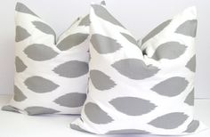 Sale Pillows.Grey.SET OF TWO.20x20 inch.Pillow Covers Gray Ikat.Printed Fabric Front and Back.Ikat Gray Pillows
