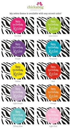 Zebra party invitations, water labels, stickers and printables in ANY color scheme! #chickabug