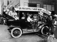 Prohibition protesters parade in a car emblazoned with signs and flags calling for the repeal of the 18th Amendment.the Volstead Act—the federal law that implemented Prohibition—strictly banned beverages containing more than 0.5% alcohol. The day it took effect, the U.S. officially went dry, and Americans quickly realized what Prohibition would really mean.