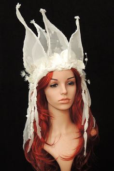 SnowQueen Headress Headpiece white weisser Kopfschmuck Fairytale Maskenzauber von Maskenzauber auf Etsy