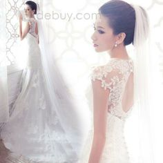 US$39.66 Simple Cathedral Length White Net Wedding Veil. #Cathedral #Cathedral #Simple #Length