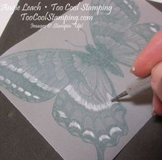 Clear embossing on vellum - turn over to back side and with vellum on a soft surface color with stylus