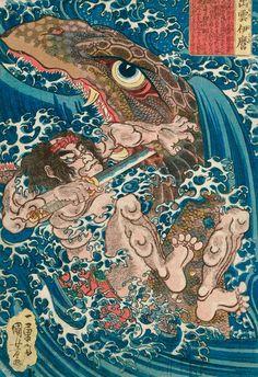 Utagawa Kuniyoshi était l'un des derniers grands maîtres japonais de l'estampe sur bois. Né en 1797 et mort en 1861, il est célèbre pour avoir réalisé
