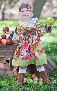 Giggle Moon Fall Blossom Lucy Dress with Bow - PREORDER $66.00 Paityn's 2nd birthday outfit (2013)