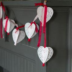 paper heart doilies, silk ribbon