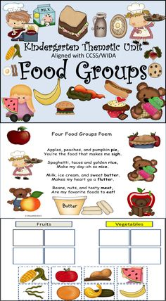 This Food Groups thematic unit addresses kindergarten science standards. The activities and printables included develop the concept and vocabulary being taught in the unit. The children will be exposed to the food unit's vocabulary across the curriculum. Math, reading, writing, listening and speaking skills are developed by using this detailed product. There are printables, projects, and poems. Black and white versions are available.110 Slides!