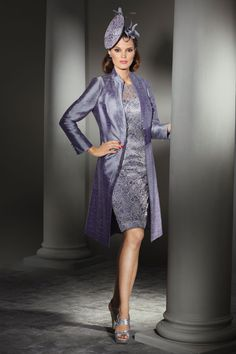 CC04 – Condici knee length silk dress with lace overlay, matching silk ¾ coat with bead detail at collar.