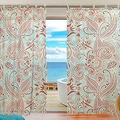 """SUABO 2PCS Ultra Luxurious Window Gauze Curtains, Polyester Washable Sheer Window Curtain Panels for Bedroom Living Room 55""""W x 78""""L - (Set of 2 Panels), Paisley & Floral Pattern"""