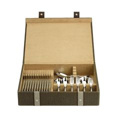 Reed & Barton Brown Woven Silverware Chest