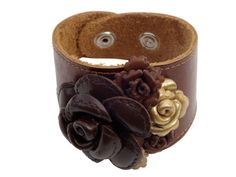 Brown leather flower cuff by Tamoraleejewelry on Etsy, $89.00