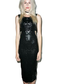 Killstar Logan Shady AF Dress ...and you don't care if they see ya subtweetin' or not, bb. Stay petty in this insane sleeveless maxi dress, featurin' a slinky black construction, wide rounded neckline, deep cut armholes with a cropped overlay, scoop back, and sleek black patterning all over of occult madness like goat heads, pentagrams, runes, stars, 'n the all powerful moon.