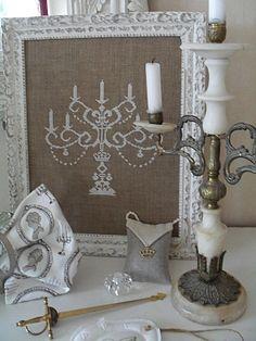 Free, elegant, cross stitch candelabra. (I made mine w/metallic floss.)