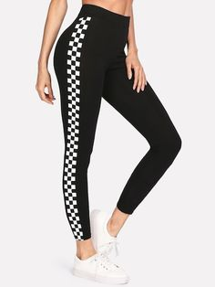 2aa572a2d55c0f ROMWE offers Checkered Sideseam Stretch Leggings   more to fit your  fashionable needs.