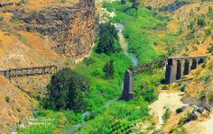 The war damaged bridge on Yarmouk River. This area is where Jordan, Israel, and Syria have borders / ceasefire lines.