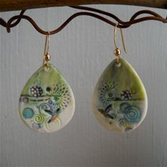 Multi colored jumbley porcelain teardrop earrings