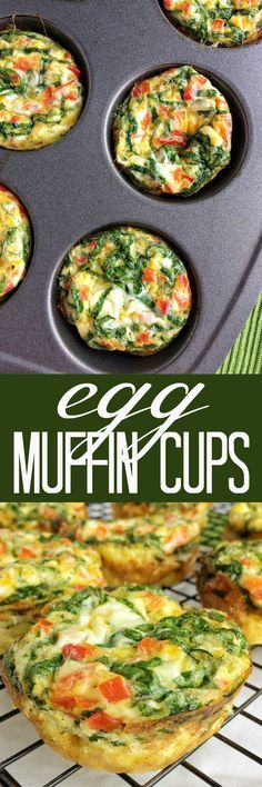 Egg muffin cups are a healthy breakfast that are loaded with eggs, red pepper, cheese, and spinach.