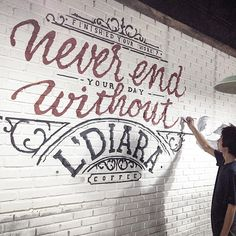 «Never end your day without coffee!  tembok bata putih ini susah sekaliii..»