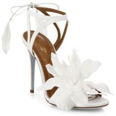 "Aquazzura Flora Satin Back-Tie Sandals / Wedding Shoes / Heels  Cutout satin sandal blooming with tropical flora Self-covered heel, 4.13"" (105mm) Satin upper Open toe Back ankle tie Leather lining and sole Made in Italy"