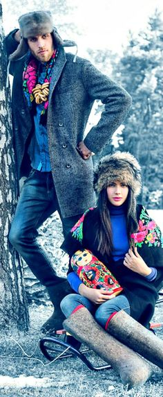 Russian folk style. Russian beauty. Russian girls. Russian man. Traditional. Fashion.