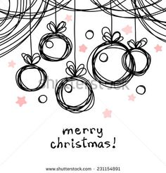 Christmas doodle background. Christmas balls in hand drawn childish sketch style. Invitation, greeting black decorative card. Abstract linear color illustration with text box