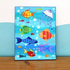Kids Fish Painting HAPPY FISH 14x11 Canvas Art for by nJoyArt, $80.00