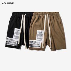 Aolamegs Men Casual Shorts Fashion Drop Crotch Shorts Street Style Harem Shorts Patchwork Design Men's Sweatpants Short Pants