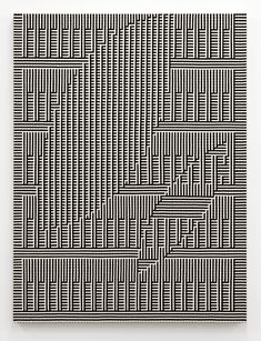 Tauba Auerbach - Shadow Weave - Hole, Ghost I: Woven canvas on wooden stretcher. 60 x 45 in I love her variations. Textures Patterns, Print Patterns, Tauba Auerbach, Computer Art, Education Humor, Art And Technology, Op Art, Animal Design, Contemporary Paintings