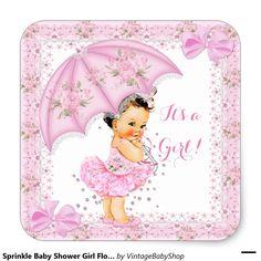 Sprinkle Baby Shower Girl Floral Pink Square Sticker
